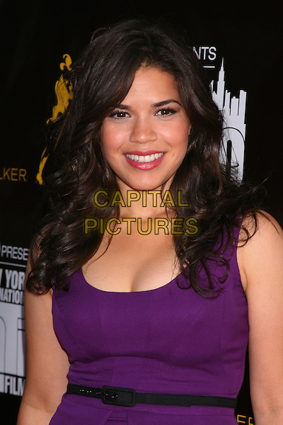 "AMERICA FERRERA.The Premiere of ""The Dry Land"" on the Opening Night of the 11th Annual New York International Latino Film Festival at the SVA Theatre, New York, NY, USA.July 27th, 2010 .half length purple dress black belt .CAP/LNC/TOM.©TOM/LNC/Capital Pictures."