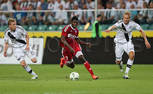 03.08.2016, Warsaw, Poland,  Michal Kopczynski (Legia), Igor Lewczuk (Legia), Aliko Bala (Trencin), Legia Warsaw versus AS Trencin, Champions League, qualification. The game  ended in a 0-0 draw with Legio going through on away goal.