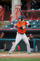 Bowie Baysox right fielder Mike Yastrzemski (18) during a game against the Erie SeaWolves on May 12, 2016 at Jerry Uht Park in Erie, Pennsylvania.  Bowie defeated Erie 6-5.  (Mike Janes/Four Seam Images)