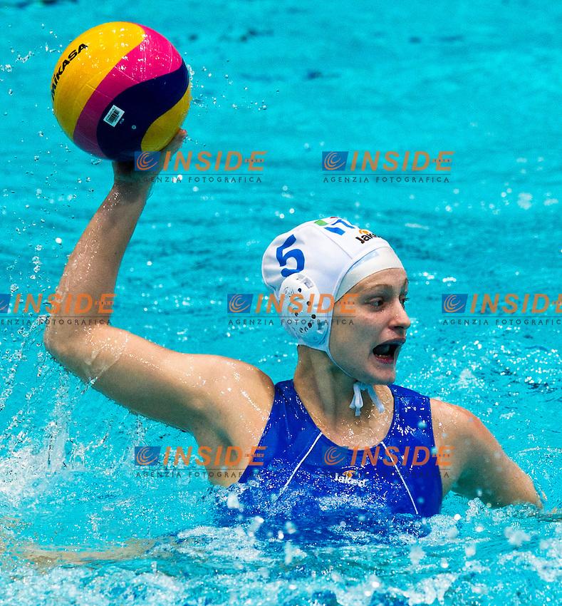 Eindhoven , Netherlands (Netherlands ) 24/1/2012.LEN European  Water Polo Championships 2012.Day 09 - Women.Italia  (White) - Netherlands  (Blue)..ITA.5 QUEIROLO Elisa..Photo Insidefoto / Giorgio Scala