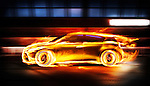 Covered in burning flames sports car racing along a tunnel, side view