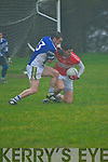 Daingean Uí Chúis Daithí Ó Géibheannaigh tackled by Annascaul Jason Hickson during the West Kerry Senior Final at Lios Poil GAA Grounds in Sunday afternoon..