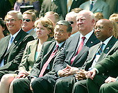 Members of the cabinet look on as United States President George W. Bush makes remarks at the swearing-in of Dirk Kempthorne as Secretary of the Interior on the south lawn of the White House in Washington, D.C. on June 7, 2006.  From left to right:  Administrator, U.S. Environmental Protection Agency Stephen L. Johnson; U.S. Secretary of Education Margaret Spellings; U.S. Secretary of Transportation Norman Y. Mineta; U.S. Secretary of Energy Samuel W. Bodman; and U.S. Secretary of Housing and Urban Development Alphonso Jackson. <br /> Credit: Ron Sachs / CNP