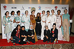 Mayalsian fashion designer Sara Jamaludin poses with models and guests after her Sara Jamaludin collection fashion show for Couture Fashion Week Spring 2018 at the Crowne Plaza Times Square in Manhattan, on September 8, 2017; during New York Fashion Week.