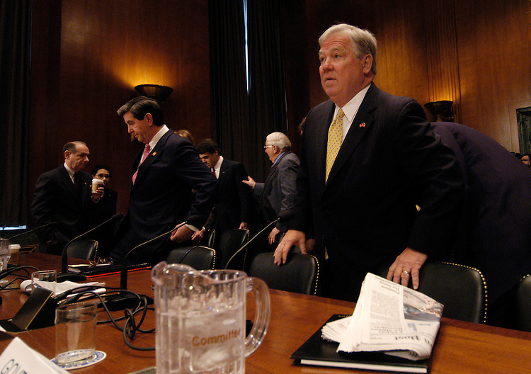 Gov. Bob Riley, R-Ala.; and Gov. Haley Barbour, R-Miss.l, prepare for testimony at a Senate Appropriations Committee committee hearing to review the president's request for additional resources to assist the Gulf Coast region in its recovery from hurricanes in the Gulf of Mexico in 2005.