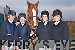 HARRIERS; Taking part in the North Kerry Harriers Hunt in Abbeydorney on Sunday L-r: Niamh Culhane(Ballylongford), Laura Mason(Ballybunion), Anna and Ca?it McEllistrem(Ballylongford)........... . ............................... ..........
