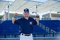 AZL Brewers Tyler Thorne (52) poses for a photo before a game against the AZL Cubs on August 24, 2017 at Maryvale Baseball Park in Phoenix, Arizona. AZL Cubs defeated the AZL Brewers 9-1. (Zachary Lucy/Four Seam Images)