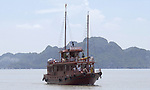 Halong-Vietnam, Ha Long - Viet Nam - 22 July 2005---Typical passenger boat for cruising tourists around Halong Bay, a UNESCO World Natural Heritage Site---tourism, transport---Photo: Horst Wagner/eup-images