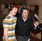 Nicholas Barasch & Robert Creighton recording the 2012 Original Broadway Cast Recording of 'The Mystery of Edwin Drood' at the KAS Music & Sound Studios in Astoria, New York on December 10, 2012