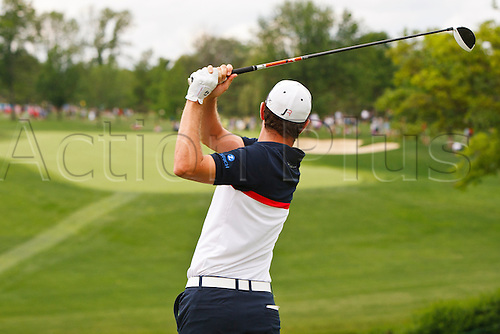 02.06.2013 Dublin, USA.  02 June 2013:  Justin Rose, of London, England, watches his tee shot from the 10th tee during the final round of the Memorial Golf Tournament played at Muirfield Village Golf Club in Dublin, Ohio.