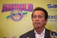 RIO DE JANEIRO, RJ, 29.05.2015 - <br /> Coletiva de imprensa com o ator e ex- fisiculturista Arnold Schwarzenegger no Hotel Barra Windsor, no Rio de Janeiro, na tarde desta sexta-feira (29). Ele est&aacute; na cidade para participar do evento Arnold Classic Brasil 2015. (Foto: Jo&atilde;o Mattos/Brazil Photo Press)