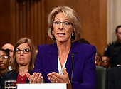 Betsy DeVos of Grand Rapids, Michigan appears before the United States Senate Committee on Health, Education, Labor and Pensions holds a confirmation hearing considering her nomination to be US Secretary of Education on Capitol Hill in Washington, DC on Tuesday, January 17, 2017.<br /> Credit: Ron Sachs / CNP