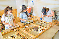 HAZLETON, PA - JUNE 30: From left, Milka Cerda, Lizbeth Fuentes and Teresa Robbins view and clean artifacts uncovered at the site of an archaeologic dig June 30, 2014 in Hazleton, Pennsylvania. The team is looking through sites connected with the Lattimer Massacre which occurred in 1897. (Photo by William Thomas Cain/Cain Images)