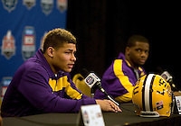 LSU defensive back Tyrann Mathieu talks with the reporters during the LSU Defensive Press Conference at Marriott Hotel at the Convention Center on January 5th, 2011.