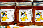 Jars of raw honey, Farmers Market, San Luis Obispo, California