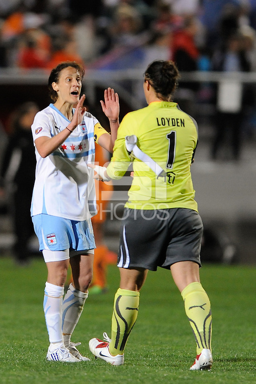Kate Markgraf (15) and goalkeeper Jillian Loyden (1) of the Chicago Red Stars after the game. Sky Blue FC defeated the Chicago Red Stars 1-0 in a Women's Professional Soccer (WPS) match at Yurcak Field in Piscataway, NJ, on April 11, 2010.