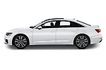 Car driver side profile view of a 2019 Audi A6 Premium Plus 4 Door Sedan