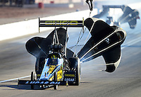 Oct. 27, 2012; Las Vegas, NV, USA: NHRA top fuel driver Morgan Lucas during qualifying for the Big O Tires Nationals at The Strip in Las Vegas. Mandatory Credit: Mark J. Rebilas-
