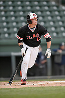 Designated hitter John Michael Faile (13) of the North Greenville Crusaders bats in a game against the Queens University Royals on Tuesday, March 12, 2019, at Fluor Field at the West End in Greenville, South Carolina. North Greenville won, 14-3. (Tom Priddy/Four Seam Images)