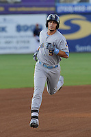 Left fielder Jake Skole (9) of the Myrtle Beach Pelicans in a game against the Potomac Nationals on Monday, June 24, 2013, at G. Richard Pfitzner Stadium in Woodbridge, Virginia. Skole was taken by the Texas Rangers in the first round of the 2010 First-Year Player Draft. Myrtle Beach won, 3-2. (Tom Priddy/Four Seam Images)
