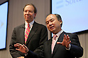 October 15, 2012, Tokyo, Japan - Softbank Corp. President Masayoshi Son (R) speaks to the media at the end of their media conference in Tokyo on Monday, October 15, 2012. Son announced that Japanese mobile Internet company Softbank has reached a deal to acquire Sprint Nextel Corp., the third-largest mobile carrier in the U.S. for $20 billion. The deal enables Softbank to establish an operating base as one of the largest mobile Internet companies in the world, with combined mobile telecom service revenues that will rank it third amongst global operators. Softbank aims to enhance Sprint's competitiveness in the U.S. and the deal includes $8 billion of new capital for the U.S. carrier. The companies expect the closing of the transaction to occur in mid-2013 pending regulatory approvals. (Photo by Yusuke Nakanishi/AFLO)
