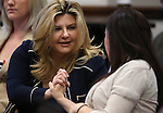 Nevada Assemblywoman Michelle Fiore, R-Las Vegas, left, and Amanda Collins talk after testifying on a bill that would allow permit holders to carry their guns on college campuses during a hearing at the Legislative Building in Carson City, Nev., on Wednesday, April 3, 2013. Collins, who was raped on the University of Nevada, Reno campus in Oct. 2007, testified in support of Fiore's bill.    .Photo by Cathleen Allison