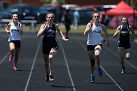 NWA Democrat-Gazette/ANDY SHUPE<br /> Elizabeth Baker (second from left) of Fayetteville and Josie Burke of DeQueen run Wednesday, May 15, 2019, while competing in the 200-meter portion of the state heptathlon championship at Ramay Junior High School. Visit nwadg.com/photos to see more photographs from the meet.