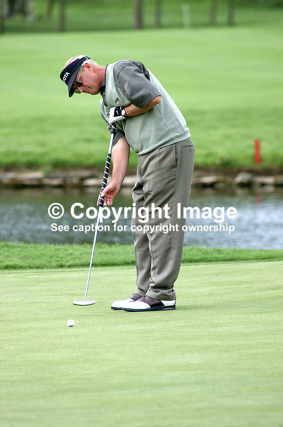 Sandy Lyle, professional golfer, Scotland. Putting. Long putter. Taken during pro-am before the Smurfit European Golf Championship at the K Club, Co Kildare, Rep of Ireland. Ref: 200207035972...Copyright Image from Victor Patterson, 54 Dorchester Park, Belfast, UK, BT9 6RJ..Tel: +44 28 9066 1296.Mob: +44 7802 353836.Voicemail +44 20 8816 7153.Skype: victorpattersonbelfast.Email: victorpatterson@mac.com.Email: victorpatterson@ireland.com (back-up)..IMPORTANT: If you wish to use this image or any other of my images please go to www.victorpatterson.com and click on the Terms & Conditions. Then contact me by email or phone with the reference number(s) of the image(s) concerned.