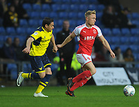 Fleetwood Town's Kyle Dempsey under pressure from Oxford United's Ricardinho<br /> <br /> Photographer Kevin Barnes/CameraSport<br /> <br /> The EFL Sky Bet League One - Oxford United v Fleetwood Town - Tuesday 10th April 2018 - Kassam Stadium - Oxford<br /> <br /> World Copyright &copy; 2018 CameraSport. All rights reserved. 43 Linden Ave. Countesthorpe. Leicester. England. LE8 5PG - Tel: +44 (0) 116 277 4147 - admin@camerasport.com - www.camerasport.com