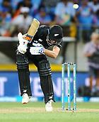 3rd February 2019, Westpac Stadium, Wellington, New Zealand;5th ODI Cricket International  match, New Zealand versus India;  Black Caps Mitchell Santner ducks a bouncer