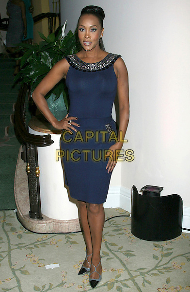 VIVICA A. FOX.2nd Annual ESSENCE Black Women In Hollywood Luncheon held at the Beverly Hills Hotel, Beverly Hills, California, USA..February 19th, 2009.full length black dress blue hand on hip.CAP/ADM/MJ.©Michael Jade/AdMedia/Capital Pictures.