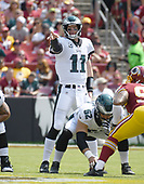 Philadelphia Eagles quarterback Carson Wentz (11) calls signals in the first quarter against the Washington Redskins at FedEx Field in Landover, Maryland on Sunday, September 10, 2017.<br /> Credit: Ron Sachs / CNP