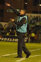 TUNJA - COLOMBIA -07 -03-2014: Juan C Osorio, tecnico de Atletico Nacional durante partido aplazado de la octava fecha  de la Liga Postobon I-2014, jugado en el estadio La Independencia de la ciudad de Tunja. / Juan C Osorio, coach of Atletico Nacional during postponed match for the eighth date of the Liga Postobon I-2014 at the La Independencia  stadium in Tunja city, Photo: VizzorImage  / Jose M. Palencia / Str. (Best quality available)