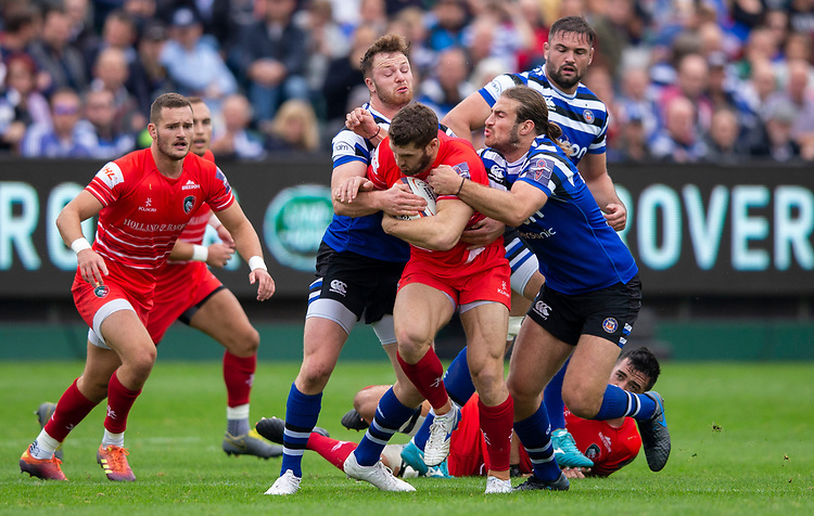 Leicester Tigers' Jonah Holmes in action during todays match<br /> <br /> Photographer Bob Bradford/CameraSport<br /> <br /> Premiership Rugby Cup Round Three - Bath Rugby v Leicester Tigers - Saturday 5th October 2019 - The Recreation Ground - Bath<br /> <br /> World Copyright © 2018 CameraSport. All rights reserved. 43 Linden Ave. Countesthorpe. Leicester. England. LE8 5PG - Tel: +44 (0) 116 277 4147 - admin@camerasport.com - www.camerasport.com