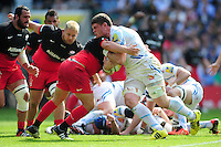Dave Ewers of Exeter Chiefs takes on the Saracens defence. Aviva Premiership Final, between Saracens and Exeter Chiefs on May 28, 2016 at Twickenham Stadium in London, England. Photo by: Patrick Khachfe / JMP
