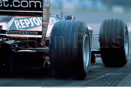 PEDRO DE LA ROSA, Arrows, European F1 Grand Prix, Nurburgring, 000521. Photo: DPPI/Action Plus...2000.  detail.sports equipment. s.  ident.motorracing.motor racing sport.Formula One.F1.tyre spin.burnout.pits.closeup close up close-up.illustration