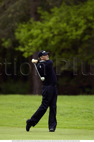 MATHIAS GRONBERG (SWE) looks into the distance after playing a wood from the fairway, Wentworth Club, Surrey, 030522. Photo: Neil Tingle/Action Plus...golf golfer 2003