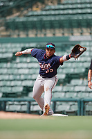 GCL Twins first baseman Yeison Perez (23) stretches to receive a throw during the first game of a doubleheader against the GCL Orioles on August 1, 2018 at CenturyLink Sports Complex Fields in Fort Myers, Florida.  GCL Twins defeated GCL Orioles 7-6 in the completion of a suspended game originally started on July 31st, 2018.  (Mike Janes/Four Seam Images)