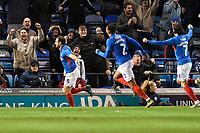 Brett Pitman of Portsmouth scores the winning goal and celebrates during Portsmouth vs Altrincham, Emirates FA Cup Football at Fratton Park on 30th November 2019