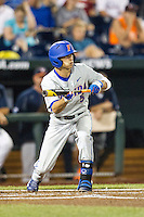 Florida Gators second baseman Dalton Guthrie (5) squares to bunt during the NCAA College baseball World Series against the Virginia Cavaliers on June 15, 2015 at TD Ameritrade Park in Omaha, Nebraska. Virginia defeated Florida 1-0. (Andrew Woolley/Four Seam Images)