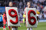 Ricky Lambert and Darren Fletcher of West Bromwich Albion carry a floral tribute to the Hillsborough victims before the Barclays Premier League match at The Hawthorns.  Photo credit should read: Malcolm Couzens/Sportimage
