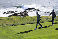 Dustin Johnson and Jordan Spieth (USA) walk off the 8th tee at Pebble Beach Golf Links during Saturday's Round 3 of the 2017 AT&amp;T Pebble Beach Pro-Am held over 3 courses, Pebble Beach, Spyglass Hill and Monterey Penninsula Country Club, Monterey, California, USA. 11th February 2017.<br /> Picture: Eoin Clarke | Golffile<br /> <br /> <br /> All photos usage must carry mandatory copyright credit (&copy; Golffile | Eoin Clarke)