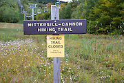 The Mittersill - Cannon Trail on Cannon Mountain in the White Mountains, New Hampshire USA.<br /> <br /> September 2014 - The Mittersill-Cannon Trail is closed to foot traffic because of improvements being done on Mittersill Mountain.