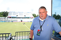 Cary, North Carolina  - Saturday June 03, 2017: NCFC Stadium announcer Mark Calaway prior to a regular season National Women's Soccer League (NWSL) match between the North Carolina Courage and the FC Kansas City at Sahlen's Stadium at WakeMed Soccer Park. The Courage won the game 2-0.