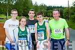 Daniel Bradley Knocknagree, Maeve Buckley Millstreet, Donal Reen, Gneeveguilla, Ian Buckley Millstreet and John Guerin Gneeveguilla at the Gneeveguilla AC I mile road race series in Barradubh on Friday evening