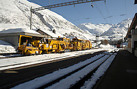 Realp railway station in the Swiss alps.Switzerland.