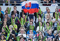 Bratislava, Slovenia, April 23, 2017,  FedCup: Slovakia-Netherlands,First rubber sunday,  Slovenian Supporters<br /> Photo: Tennisimages/Henk Koster