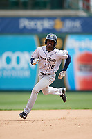 Kane County Cougars center fielder Anfernee Grier (10) running the bases during a game against the South Bend Cubs on May 3, 2017 at Four Winds Field in South Bend, Indiana.  South Bend defeated Kane County 6-2.  (Mike Janes/Four Seam Images)