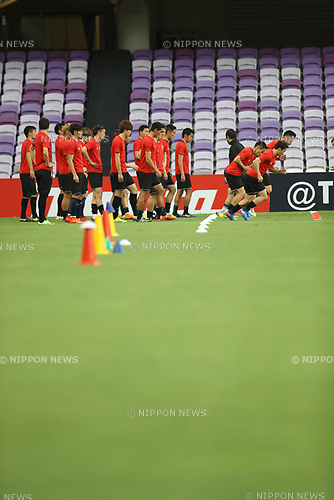Japan team group (JPN),<br /> MARCH 22, 2017 - Football / Soccer :<br /> Japan training session at Hazza Bin Zayed Stadium in Al Ain, United Arab Emirates ahead of the FIFA World Cup Russia 2018 Asian Qualifiers Final Round match against the United Arab Emirates. (Photo by Kenzaburo Matsuoka/AFLO)