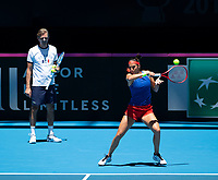 8th November 2019; RAC Arena, Perth, Western Australia, Australia; Fed Cup by BNP Paribas Final Tennis, Australia versus France, Practice Day; Caroline Garcia of France plays a forehand shot under the watchful eye of Julien Benneteau during her practise session - Editorial Use